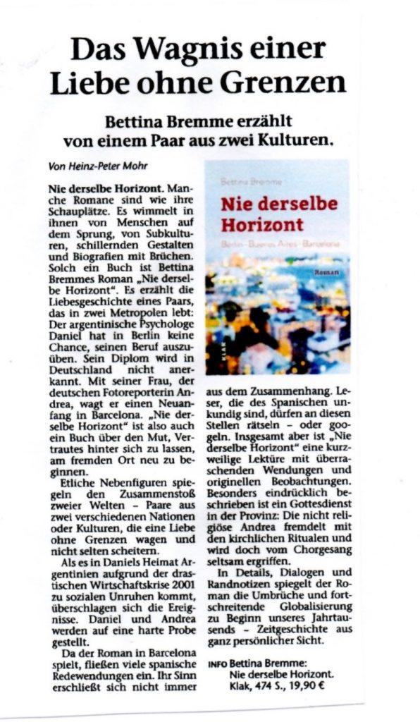 """Rezension von """"Nie derselbe Horizont Marler und Recklinghäuser Zeitung Scan"""